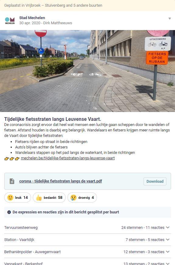 stad Mechelen post een Hoplr bericht over tijdelijke fietsstraten