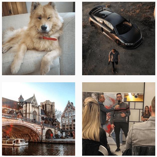 quelques photos sur Instagram, un chien, une voiture, quelqu'un qui fait une présentation