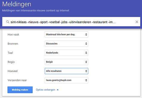 een alert wordt aangemaakt op Google