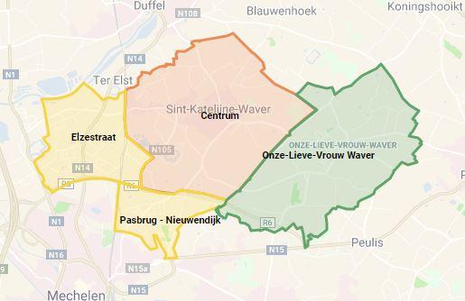 vier Hoplr-buurten van Sint-Katelijne-Waver op een kaart