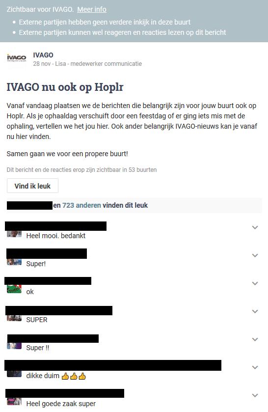 Ivago plaatst een eerste introductiebericht in de Gentse buurten van Hoplr