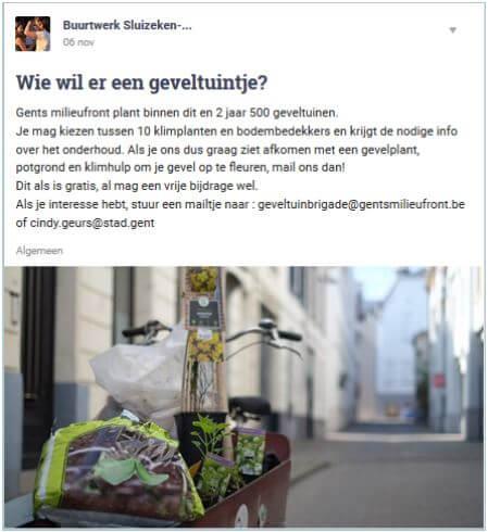 buurtwerk stad Gent geeft gratis geveltuintjes weg