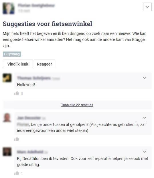 Hoplr-bericht waarin iemand een fietsenmaker in Brugge zoekt, buren helpen met suggesties