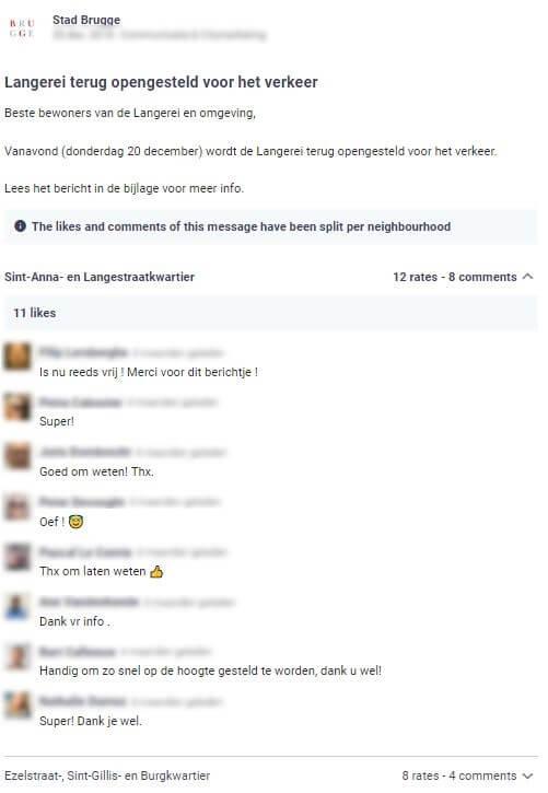 stad Brugge plaatst een bericht op Hoplr waarin ze aankondigt dat wegenwerken voorbij zijn en een bepaalde straat weer toegankelijk is, de buren zijn dankbaar voor de info