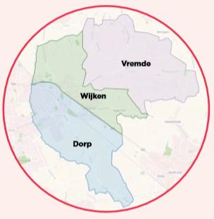 kaartje van de verschillende Hoplr-buurten in Boechout
