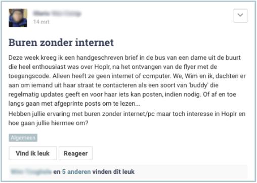 iemand stelt op Hoplr voor om met een buddy-systeem te werken voor buren zonder internet, zodat ze ook gebruik kunnen maken van Hoplr