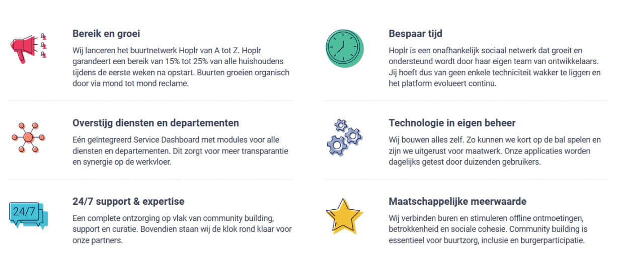 opsomming van de voordelen van werken met het Service Dashboard van Hoplr: bereik en groei, overstijg diensten, 24/7 support en expertise, bespaar tijd, technologie in eigen beheer, maatschappelijke meerwaarde
