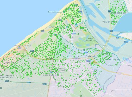 une carte géographique d'Oostende avec des points verts montre où habitent les membres de Hoplr