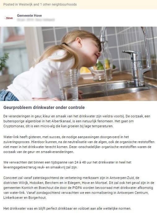 gemeente Hove communiceert over probleem rond geur van kraantjeswater
