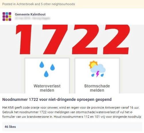 gemeente Kalmthout wil burgers bereiken via bericht over het noodnummer in het kader van noodweer