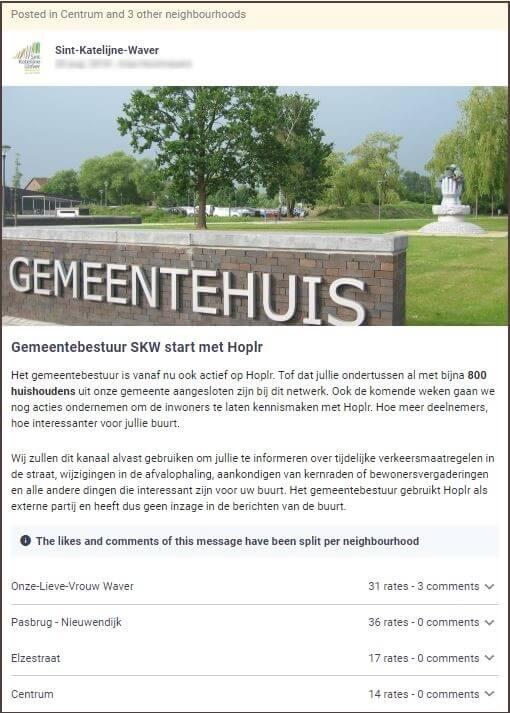 gemeente Sint-Katelijne-Waver plaatst een introductiebericht op Hoplr waarin ze meedeelt wat burgers qua communicatie kunnen verwachten