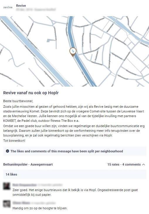 projectontwikkelaar revive laat weten dat ze zal communiceren over bouwplannen in de buurt