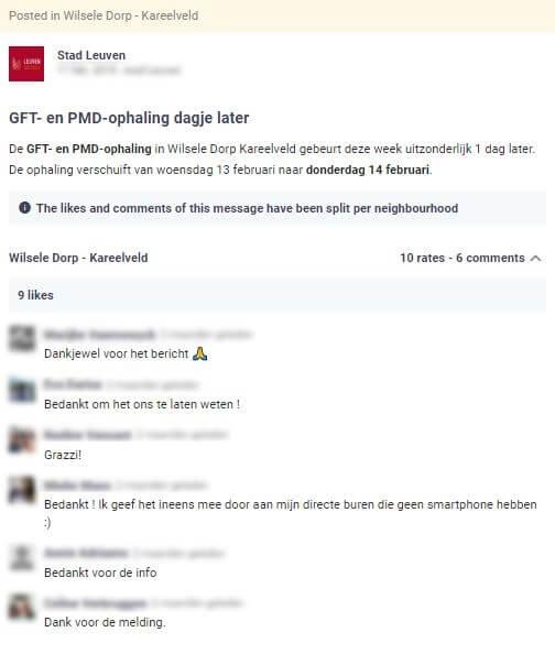 stad Leuven laat weten dat de afvalophaling een dag later doorgaat