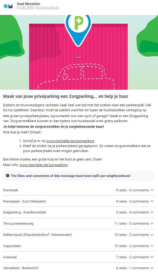 stad Mechelen doet een oproep rond zorgparkingen: buren kunnen hun privéparking tijdens de werkuren openstellen voor verpleegkundigen