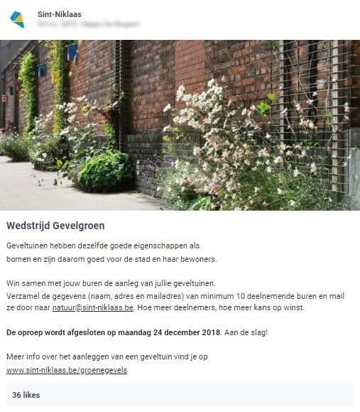 stad Sint-Niklaas nodigt alle inwoners uit om deel te nemen aan een wedstrijd waarbij ze kans maken op geveltuintjes