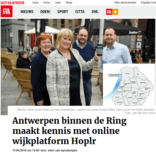 artikel uit Gazet van Antwerpen over Hoplr in Antwerpen