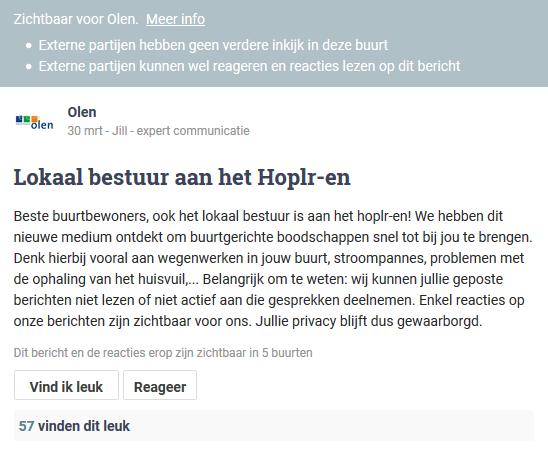 gemeentebestuur Olen introduceert zich in de Hoplr-buurten