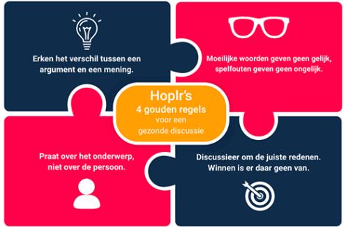 illustratie die vier gouden regels van Hoplr weergeven