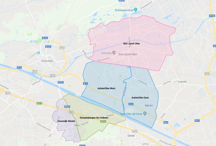 kaart met Hoplr-buurten in Olen