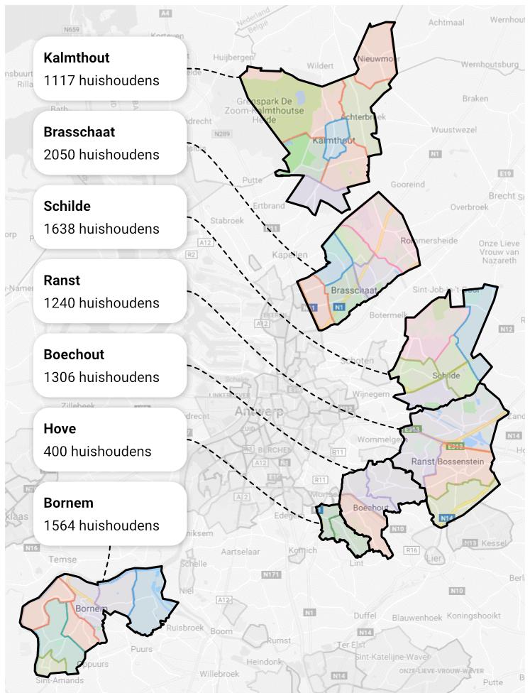 kaart toont de gemeenten rond stad Antwerpen die zijn aangesloten bij Hoplr