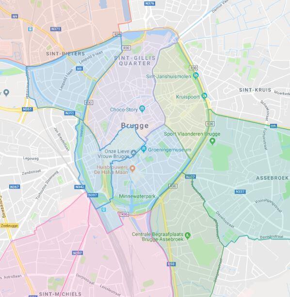 kaart met alle Hoplr-buurten van Brugge