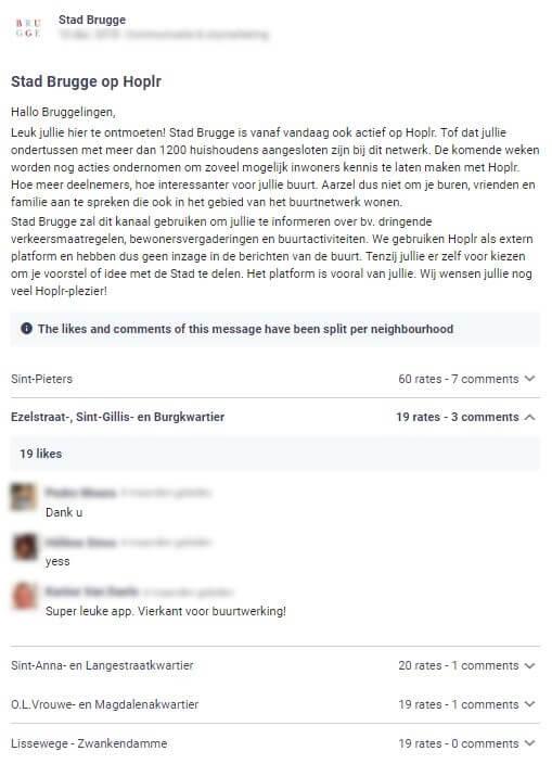 stad Brugge plaatst zelf een bericht op Hoplr waarin ze aankondigt dat de stad ook zal communiceren via het kanaal, de buren reageren enthousiast