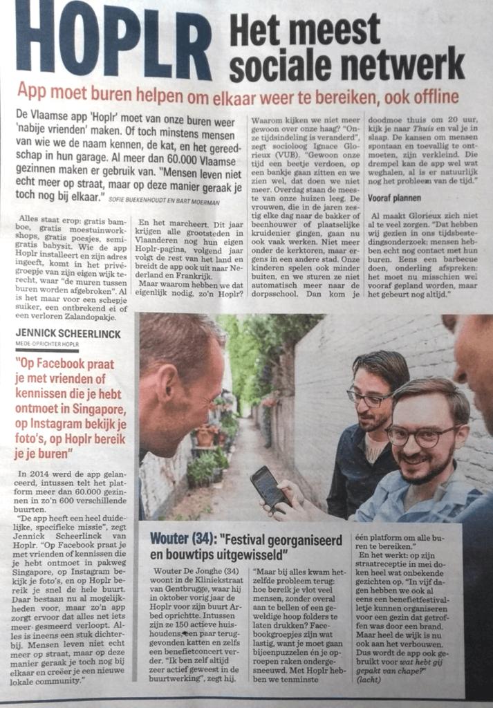 artikel uit het Nieuwsblad met een aantal Gentse buurttrekkers over Hoplr
