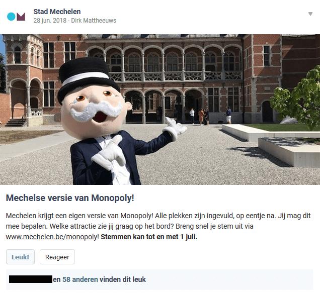stad Mechelen post een bericht op Hoplr over een Mechels monopoliespel