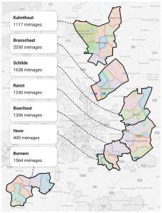 carte des communes affiliées à Hoplr autour de la ville d'Anvers