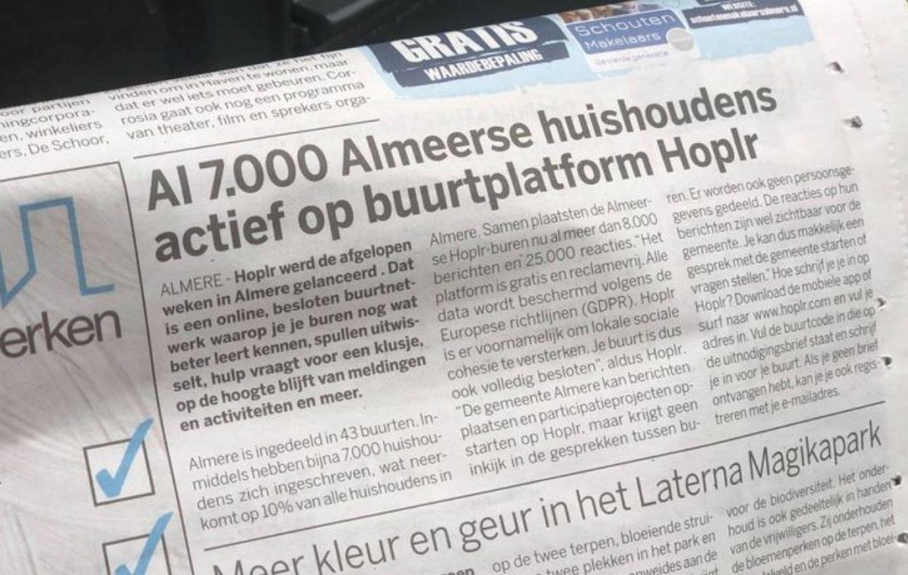 Article in a local newspaper from Almere: 'Already 7.000 households active on neighbourhood platform Hoplr'.