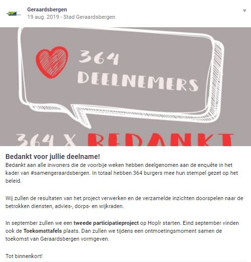 The city of Geraardsbergen thanks its citizens for participating in a survey on Hoplr.