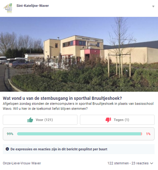 Sint-Katelijne-Waver asks the neighborhood what they think of the new location for the polling stations