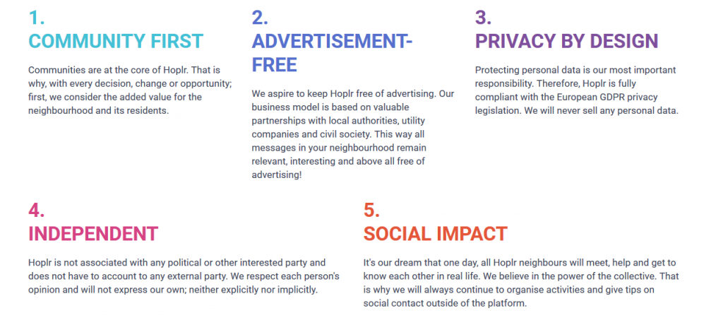 Hoplr manifest: community first, advertisement-free, privacy by design, independent and social impact.