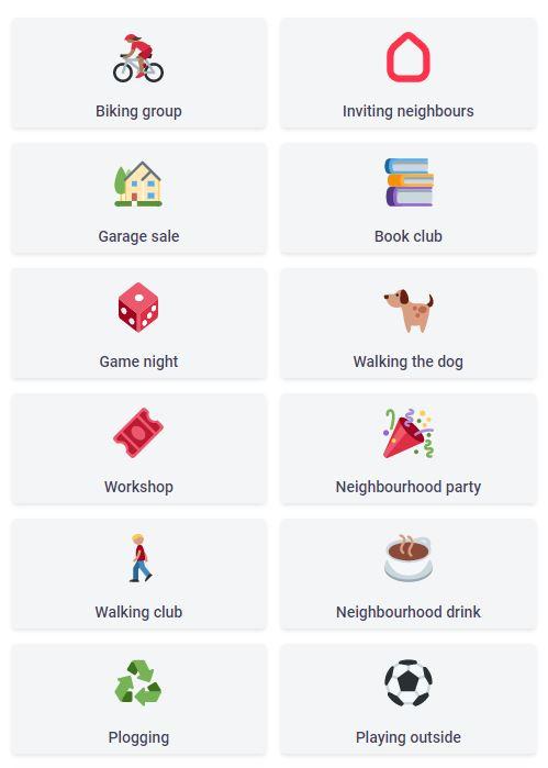 neighbourhood calendar suggests a number of possible neighborhood activities