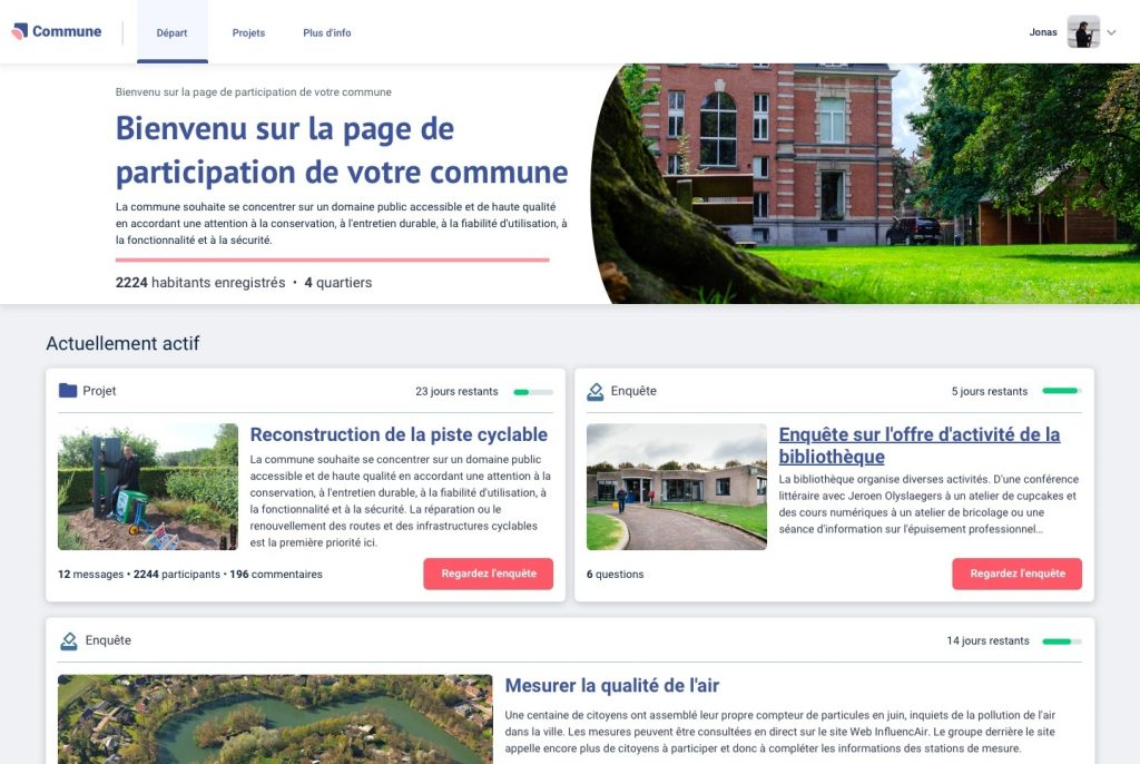 Image de la page publique de Hoplr pour la participation citoyenne et quelques exemples de projets