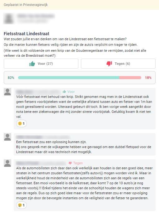 Exemple d'une idée bottom-up sur Hoplr: Les citoyens de Saint-Nicolas proposent de transformer la Lindestraat en une rue cyclable. 27 personnes votent pour, 6 contre.