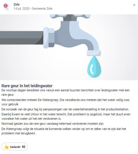 Hoplr message about off smelling tap water in Zele