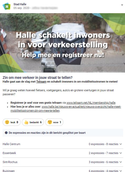 Halle posts a message on Hoplr inviting citizens to install a device that lets them count passing traffic