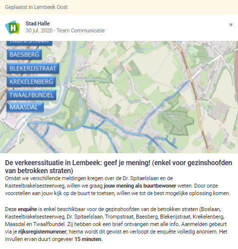 city of halle posts on hoplr and invites neighbours to fill in the survey about local mobility